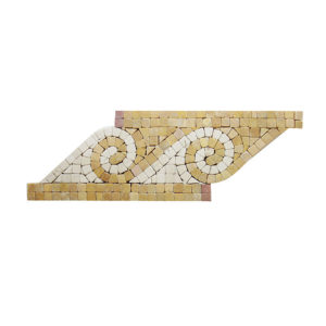 Cream Marfil + Tong Yellow Wave Pattern Mosaic Boarder Honed