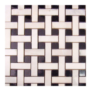 "White Marble+Pure Black Basket Weave 1/2""x2"" Mosaic"
